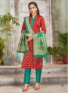 Red and Sea Green Woven Work Pant Style Straight Suit