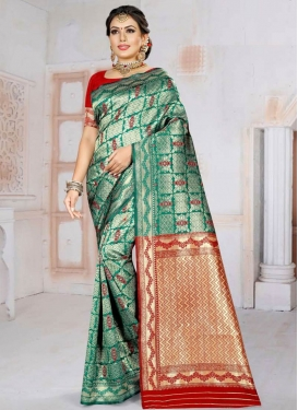 Red and Sea Green Woven Work Trendy Classic Saree