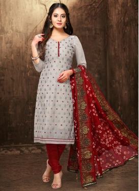 Red and Silver Color Pakistani Straight Salwar Kameez For Casual