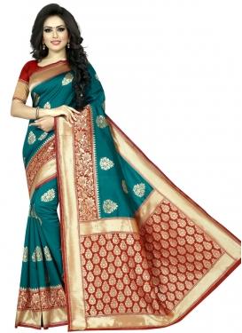Red and Teal Art Silk Designer Contemporary Saree