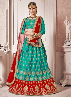 Red and Teal Art Silk Trendy Lehenga