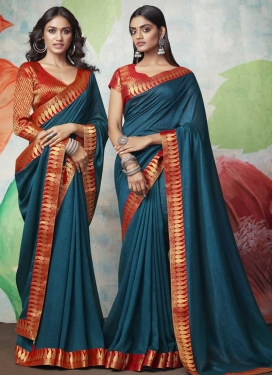 Red and Teal Designer Contemporary Style Saree
