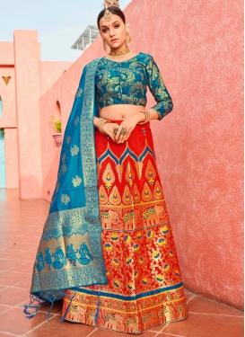 Red and Teal Jacquard Silk Trendy Lehenga Choli