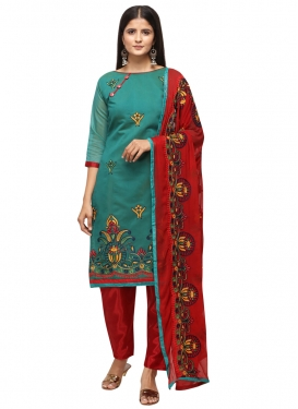 Red and Teal Pant Style Classic Salwar Suit