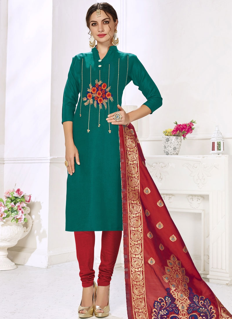 Red and Teal Trendy Churidar Salwar Kameez