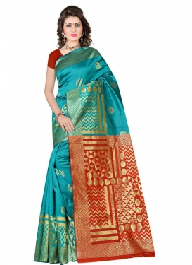 Red and Teal Woven Work Designer Contemporary Saree