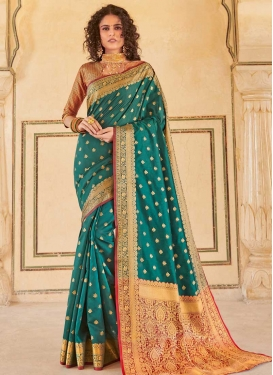 Red and Teal Woven Work Trendy Classic Saree