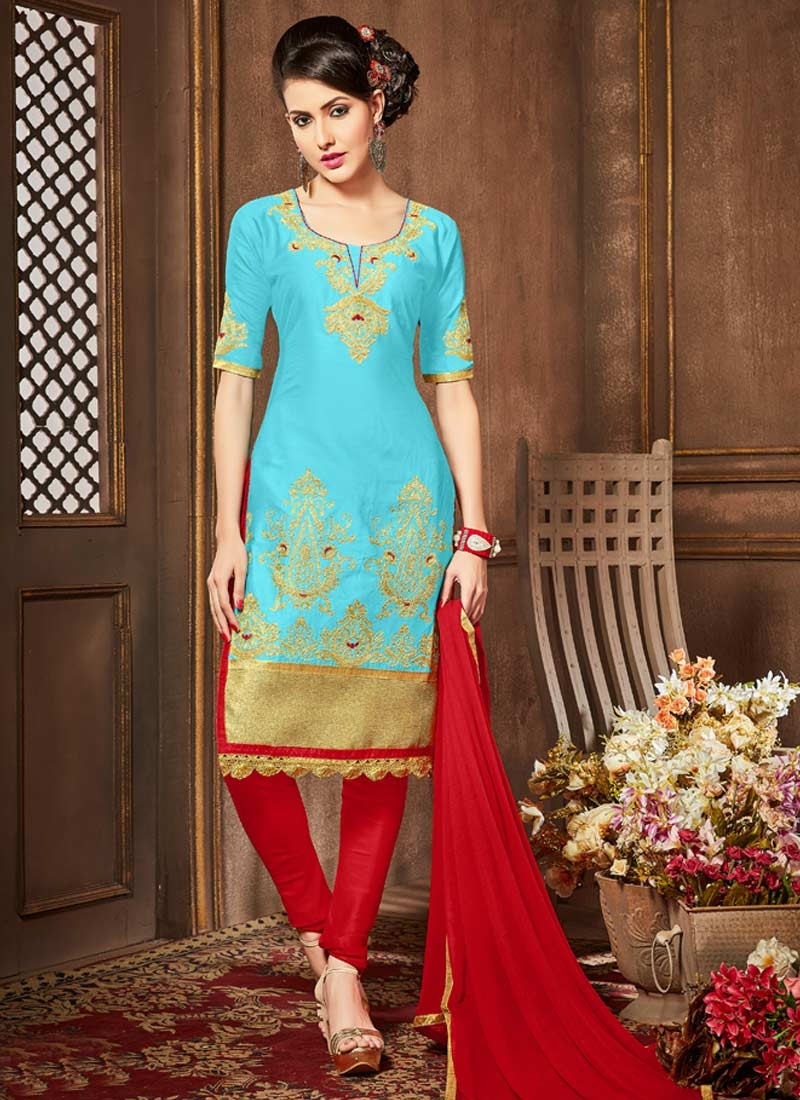 Red and Turquoise Embroidered Work Trendy Churidar Salwar Suit