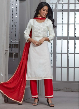 Red and White Embroidered Work Readymade Salwar Kameez