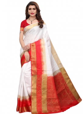 Red and White Thread Work Traditional Designer Saree