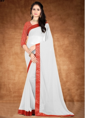 Red and White Trendy Classic Saree