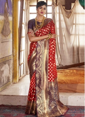 Red and Wine Thread Work Trendy Classic Saree