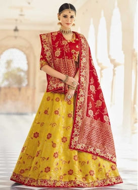 Red and Yellow Beads Work Banarasi Silk Trendy Lehenga Choli
