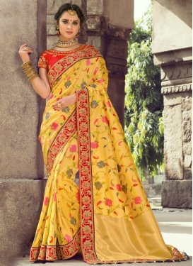 Red and Yellow Beads Work Traditional Saree
