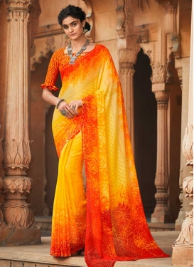 Red and Yellow Designer Contemporary Style Saree