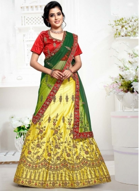 Red and Yellow Satin Silk A Line Lehenga Choli