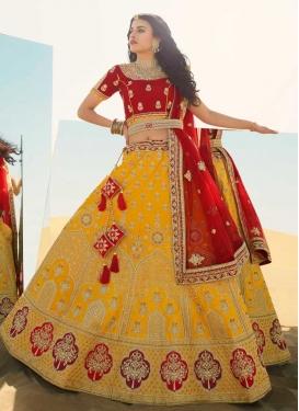 Red and Yellow Silk Designer A Line Lehenga Choli