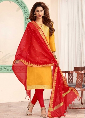 Red and Yellow Trendy Churidar Salwar Suit