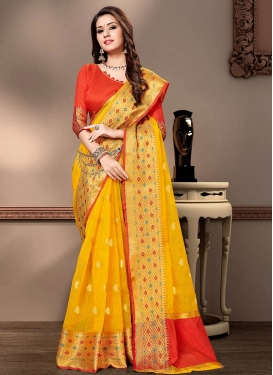 Red and Yellow Woven Work Designer Contemporary Saree