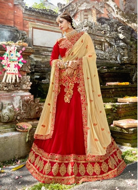 Red Art Silk Mehndi Designer Lehenga Choli