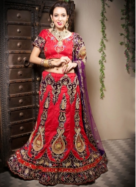 Red Art Silk Patchwork Designer Lehenga Choli