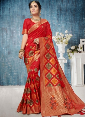 Red Art Silk Weaving Traditional Saree