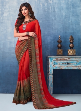 Red Casual Faux Georgette Printed Saree
