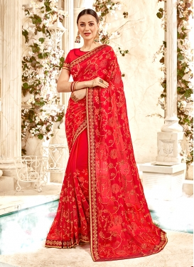 Red Ceremonial Faux Georgette Trendy Saree