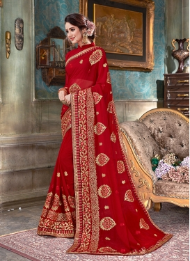 Red Faux Georgette Classic Saree
