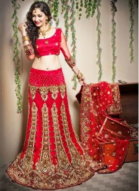 Red Mehndi Net Designer Lehenga Choli
