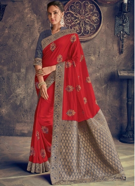 Red Mehndi Poly Silk Designer Saree