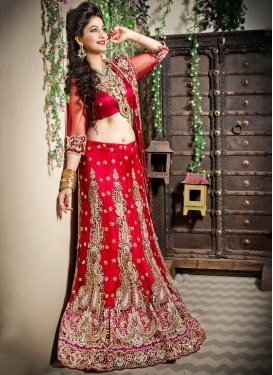Red Net Trendy Lehenga Choli