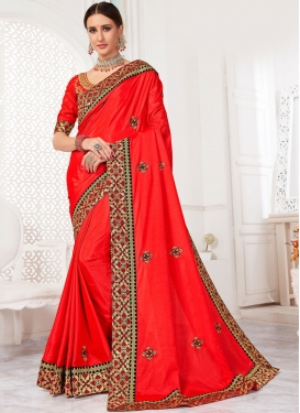 Red Reception Poly Silk Classic Saree