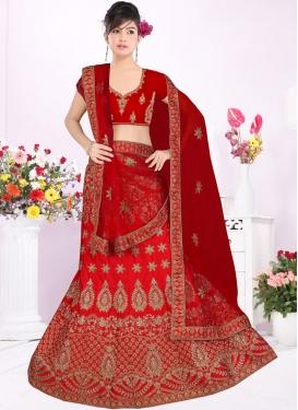 Red Satin Silk Resham Trendy Lehenga Choli