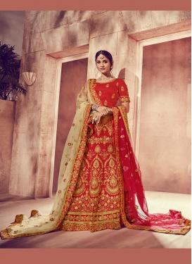 Red Silk Embroidered Designer Lehenga Choli