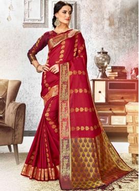 Red Weaving Art Silk Traditional Designer Saree