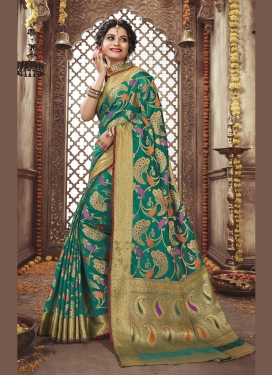 Refreshing Weaving Art Silk Sea Green Traditional Saree
