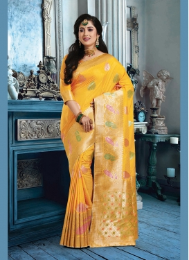 Refreshing Yellow Weaving Art Silk Classic Saree