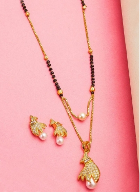 Regal Alloy Beige and White Mangalsutra Set