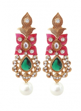 Regal Brass Green and Rose Pink Earrings For Festival