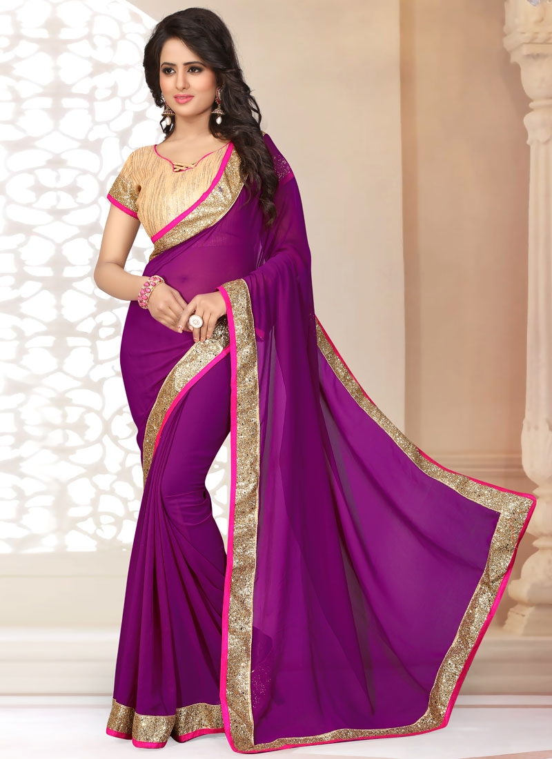 Remarkable Purple Color Faux Georgette Casual Saree