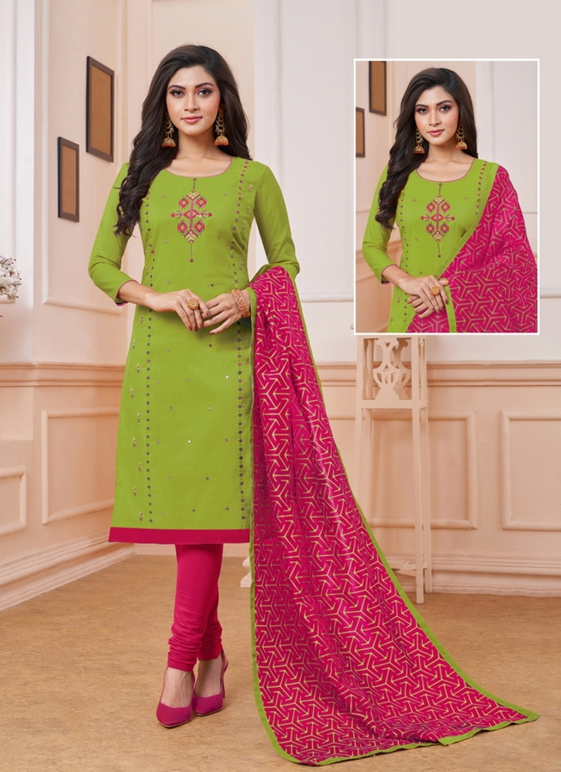 Resham And Embroidered Art Silk Churidar Suit