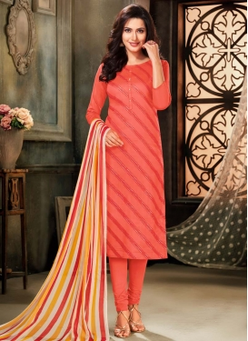 Resham Work Chanderi Cotton Trendy Churidar Salwar Kameez