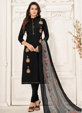 Resham Work Chanderi Cotton Trendy Churidar Salwar Suit