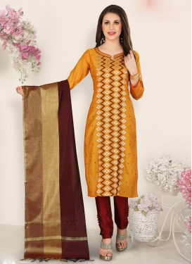 Resham Work Chanderi Silk Maroon and Orange Pant Style Pakistani Suit