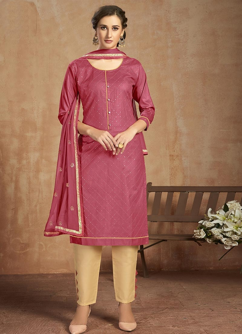 Resham Work Cotton Pant Style Straight Suit