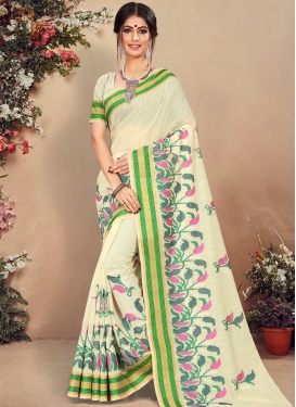 Resham Work Cotton Silk Designer Contemporary Style Saree