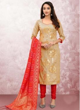 Resham Work Cotton Trendy Churidar Salwar Suit