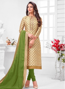 Resham Work Cream and Green Trendy Churidar Salwar Suit