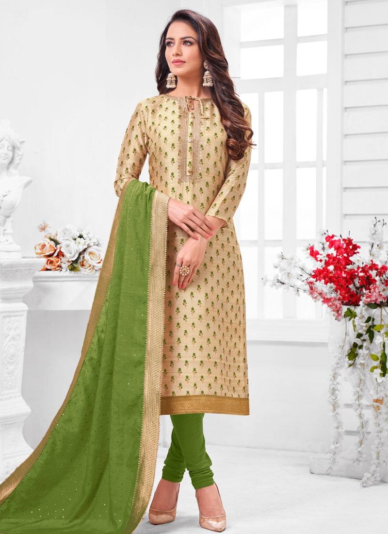 Resham Work Cream and Green Trendy Churidar Salwar Suit